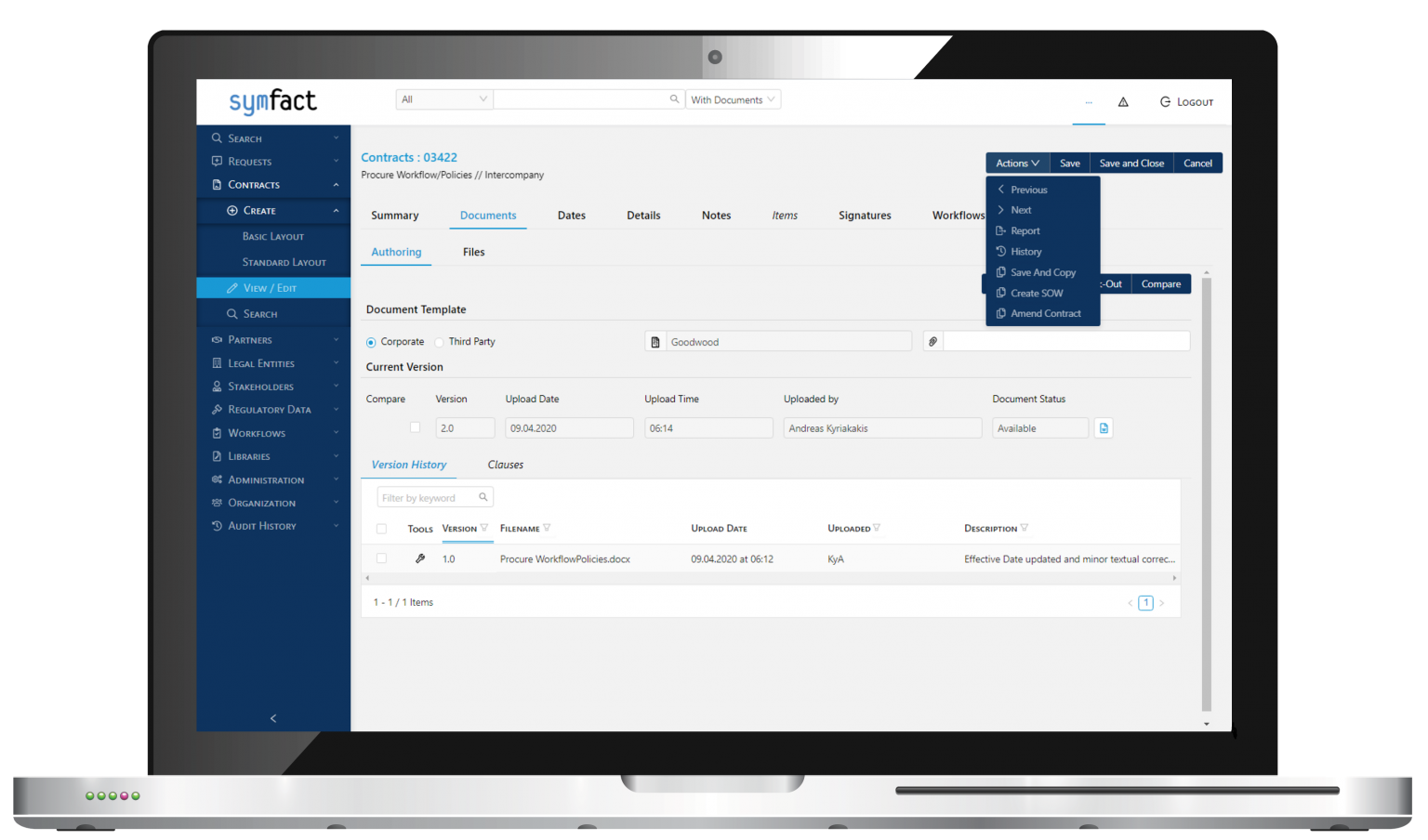 Symfact Contract Management Software
